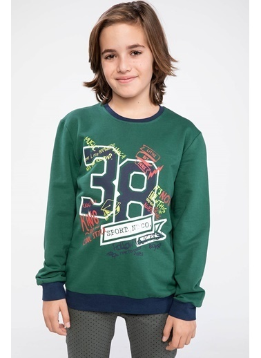 DeFacto Baskılı Sweatshirt Yeşil